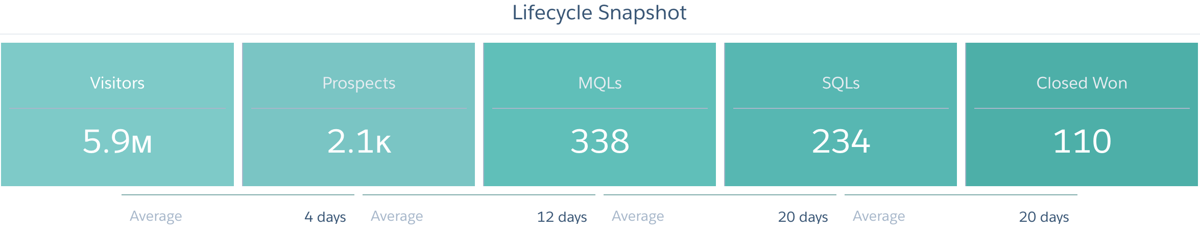 einstein marketing analytics - lifecycle snapshot